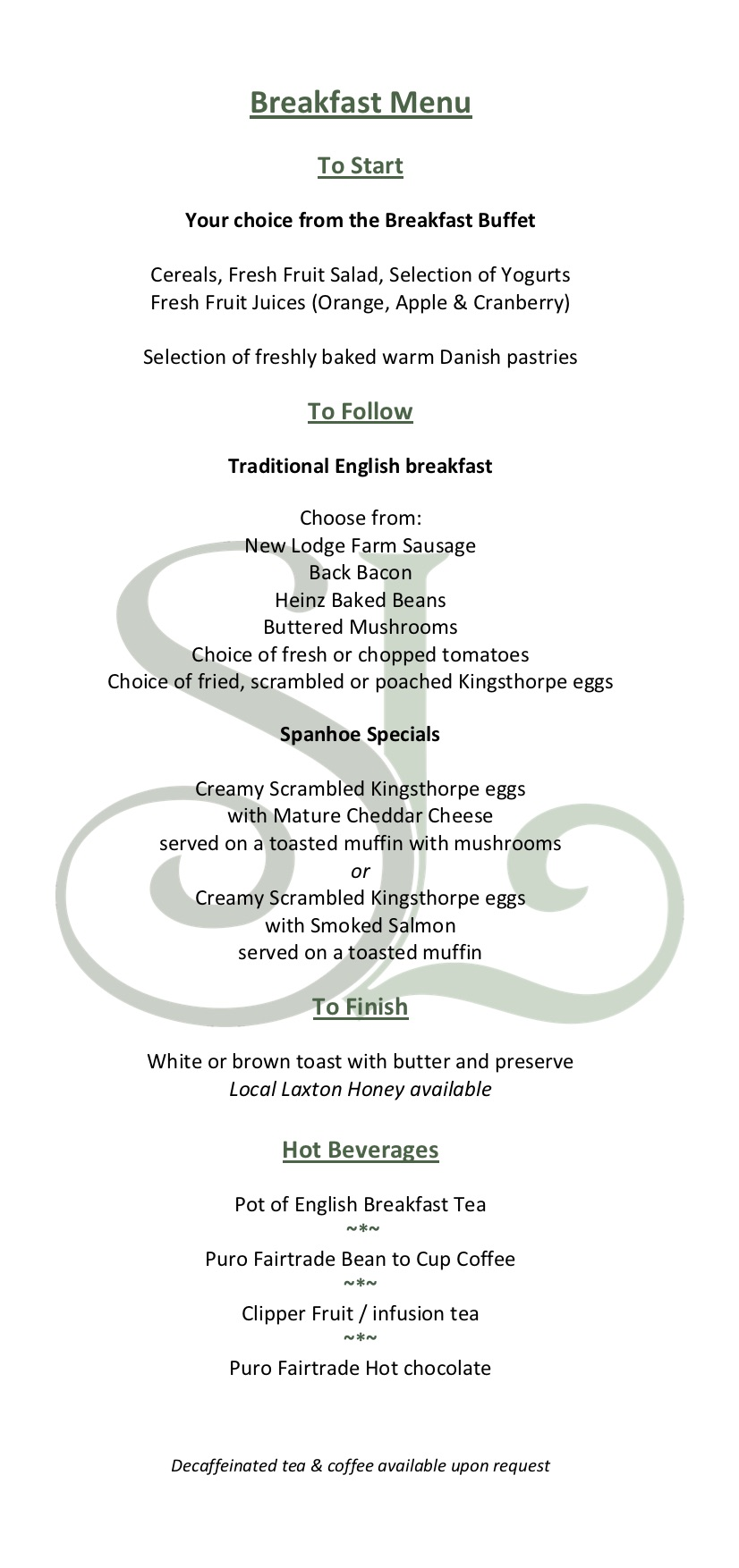 Spanhoe Breakfast Menu